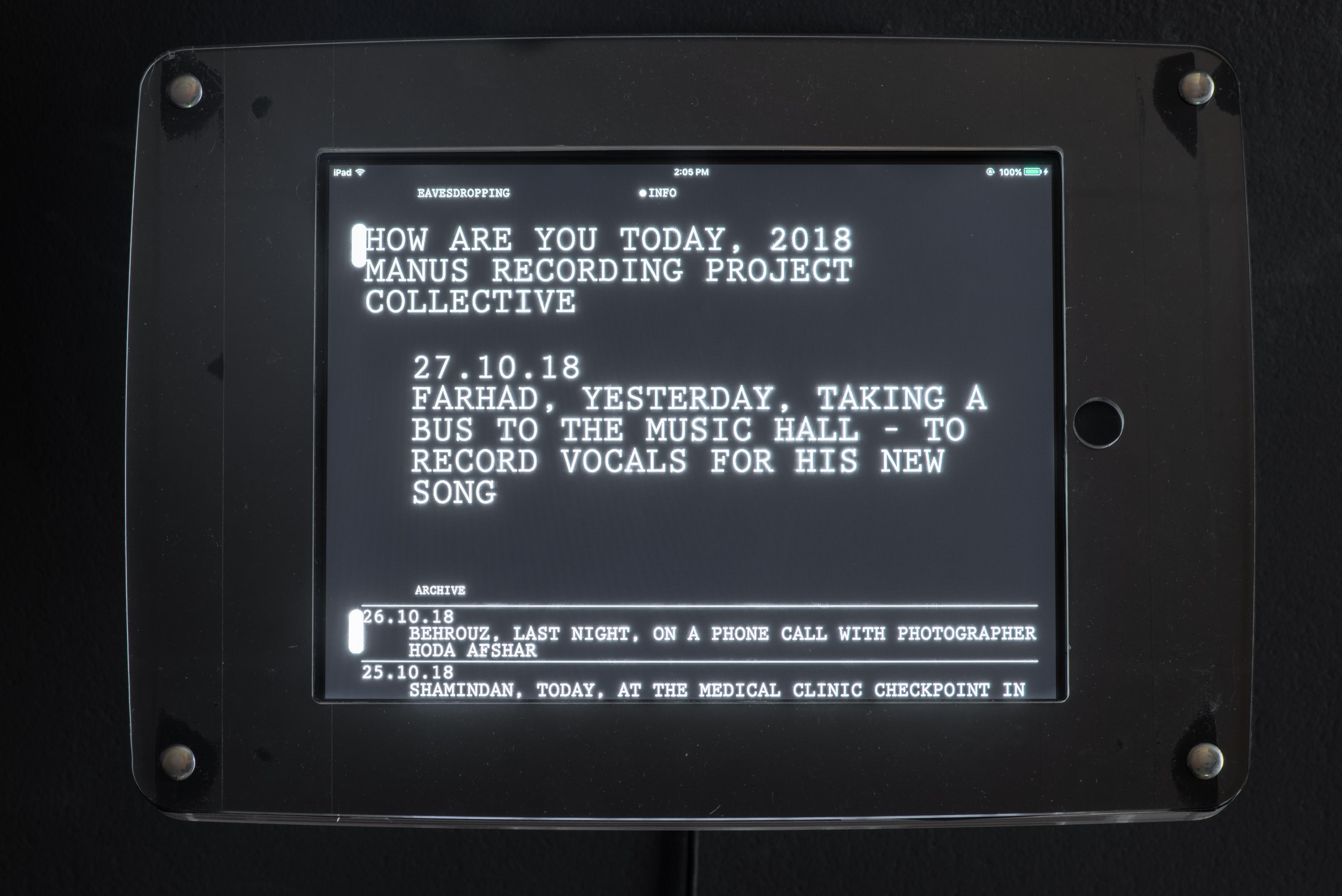 <p>Manus Recording Project Collective, <em>how are you today,</em> 2018. Photo: Christian Capurro.</p>