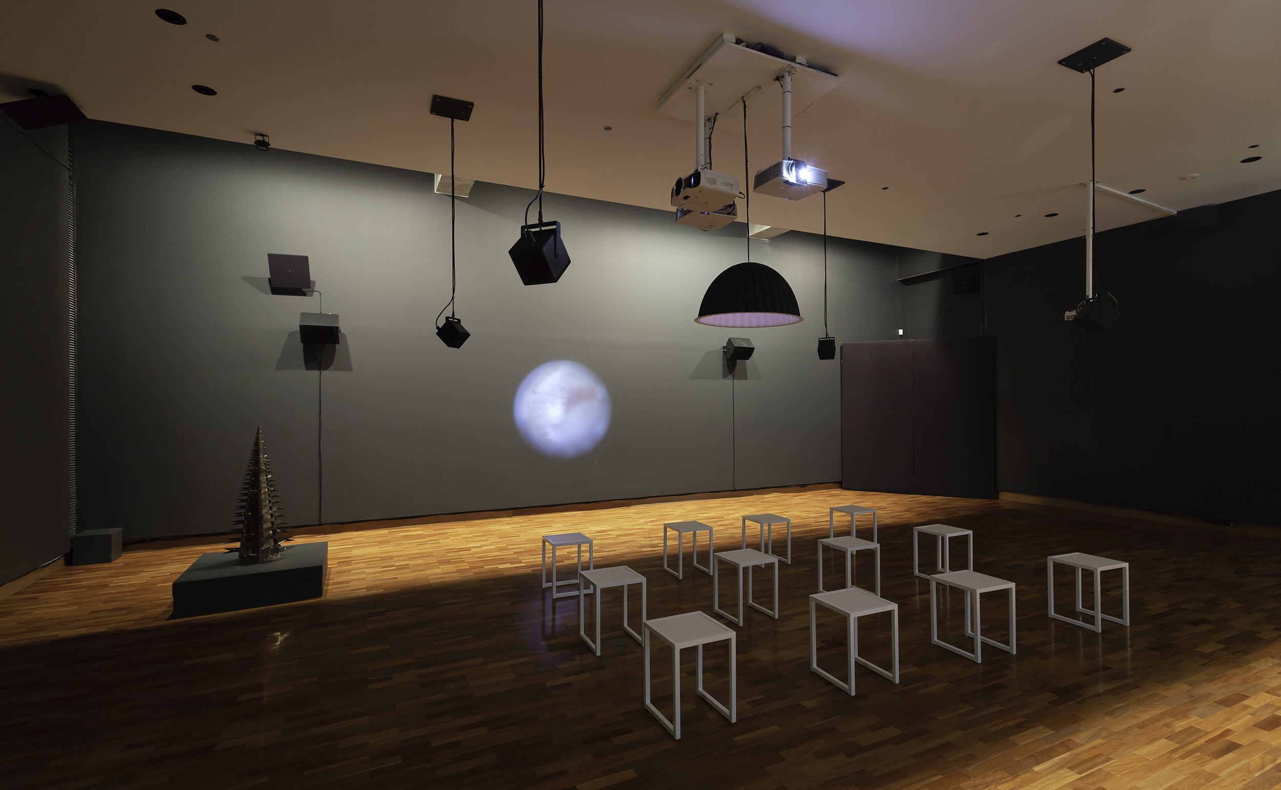 <p>While this image depicts a number of works in situ, it also gives a sense of the space in which <em>how are you today</em> was situated as part of <em>Eavesdropping</em> at Ian Potter Museum of Art, University of Melbourne, Melbourne.</p>
