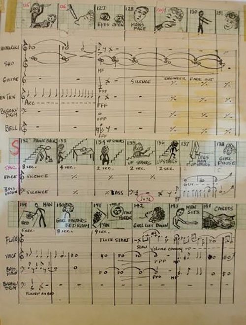 <p>Original score of Meshes in the Afternoon. <BR>Image courtesy Teiji Ito collection, The New York Public Library.</p>