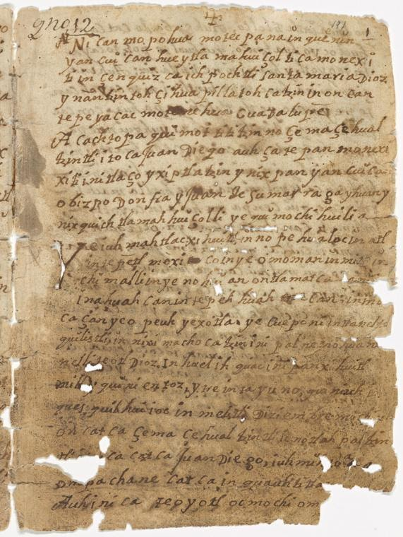 <p>Manuscript page: <em>Nican Mopohua</em>, 1500–1600 (approx.). Image source: Wikimedia Commons.</p>