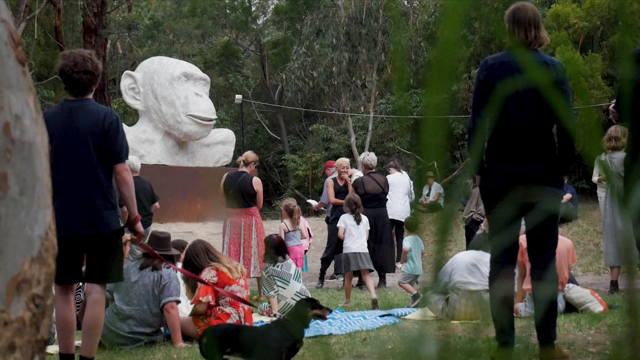 <p>Tina Stefanou, <em>The White Ape Hears the Holy Supermarket for the First Time.  Not-Another-Field-Recording: The Holy Epiphany,</em> 2021, six-channel sonic sculpture across McClelland Sculpture Park and Gallery.</p>